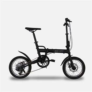 W&TT Vélo Pliant pour Adulte et garçon Ultralight en Alliage d'aluminium Cadre Ville Commuter Bicycle16 Pouces, Double Disque de Frein et d'importation Shimano 6 Vitesses,Black
