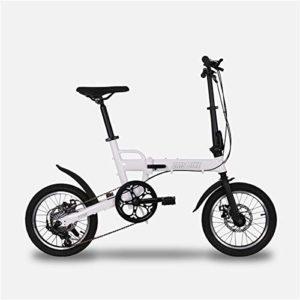 W&TT Vélo Pliant pour Adulte et garçon Ultralight en Alliage d'aluminium Cadre Ville Commuter Bicycle16 Pouces, Double Disque de Frein et d'importation Shimano 6 Vitesses,White