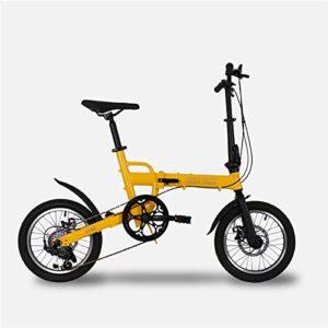 W&TT Vélo Pliant pour Adulte et garçon Ultralight en Alliage d'aluminium Cadre Ville Commuter Bicycle16 Pouces, Double Disque de Frein et d'importation Shimano 6 Vitesses,Yellow