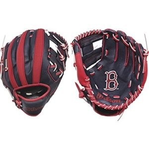 WILSON A200 MLB BOS Gants de Baseball Unisex-Youth, Navy/Red, 10 inch